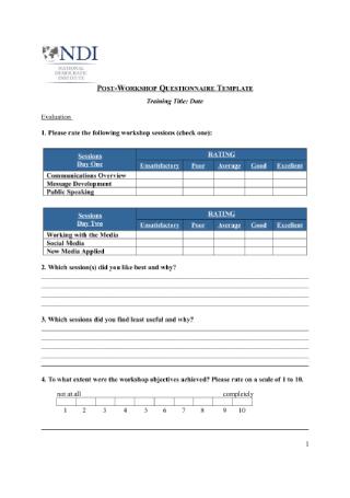 Post Workshop Questionnaire