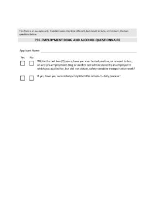 Pre Employment Drug Alcohol Questionnaire