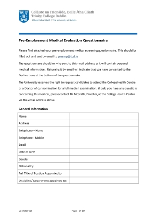 Pre Employment Medical Evaluation Questionnaire