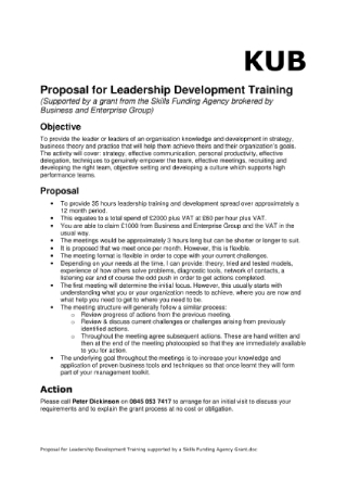 Proposal for Leadership Development Training