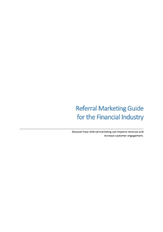 Referral Marketing Guide for the Financial Industry