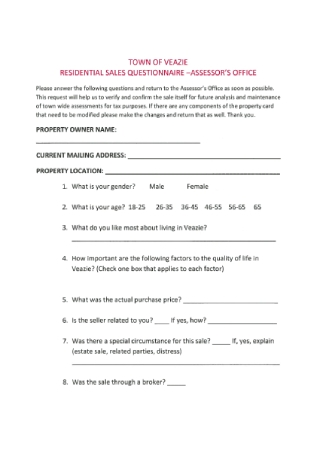 Residential Sales Questionnaire