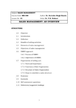 Sales Management Overview
