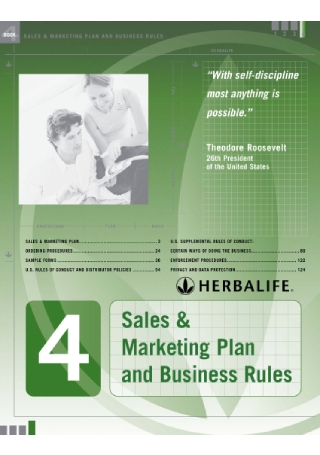 Sales and Marketing Plan and Business Rules