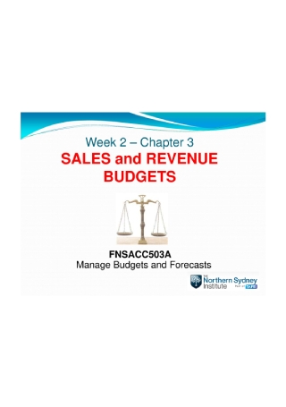 Sales and Revenue Budgets