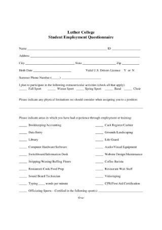 Student Employment Questionnaire