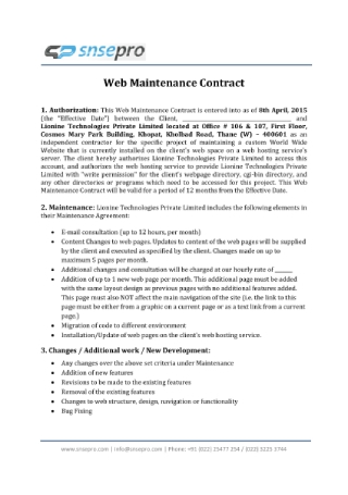 Web Maintenance Contract