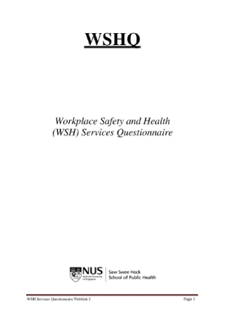 Workplace Safety and Health Services Questionnaire