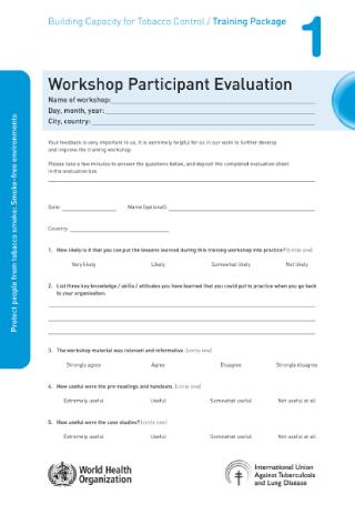 Workshop Participant Evaluation Survey