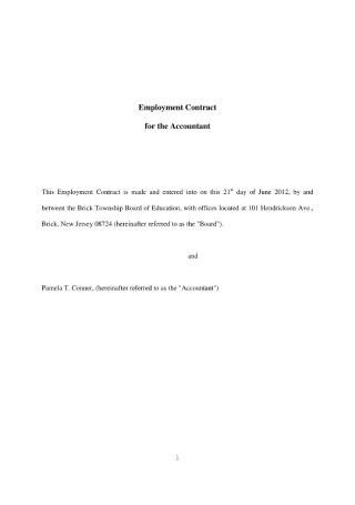 Accountant Employment Contract