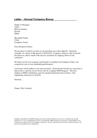 Annual Company Bonus Letter