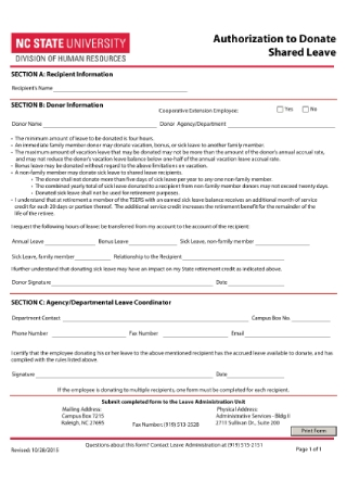 Authorization to Donate Shared Leave Form