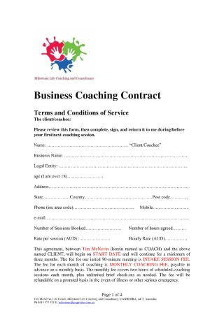 Business Coaching Contract