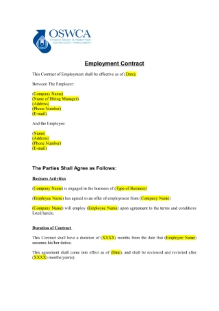Business Employment Contract