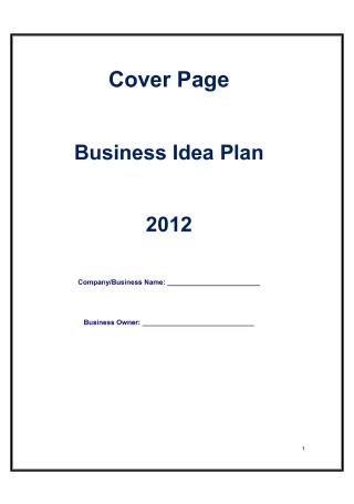 Business Idea Plan
