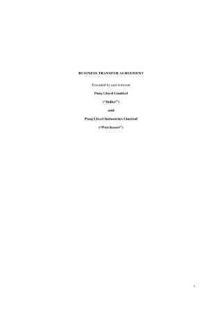 Business Transfer Agreement
