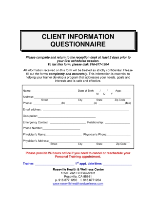 Client Information Questionnaire