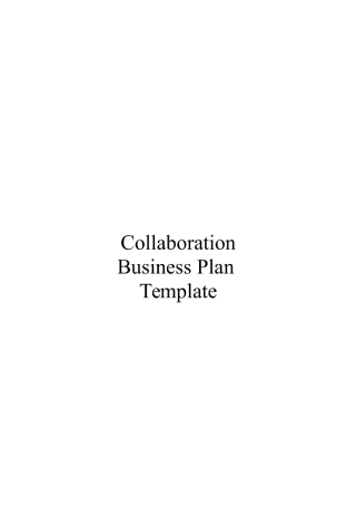 Collaboration Business Plan