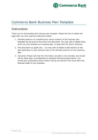 Commerce Bank Business Plan