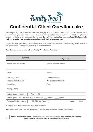 Confidential Client Questionnaire