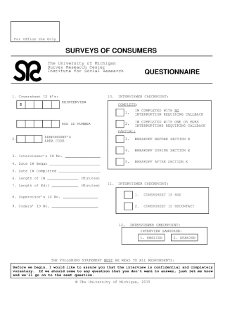 Consumer Questionnaire for Social Research