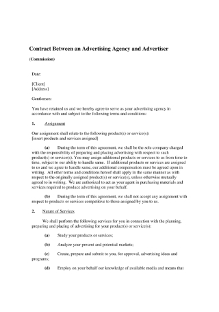 Contract between an Advertising Agency and Advertiser