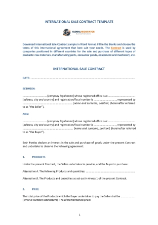 Contract for International Sale