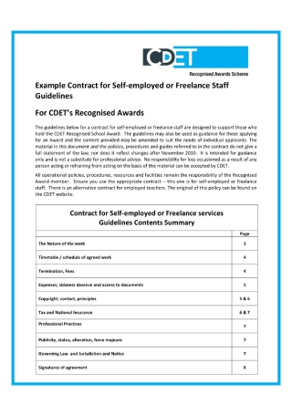 Contract for Self employed or Freelance Staff