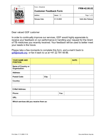 Customer Feedback Questionnaire Form