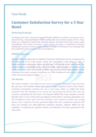 Customer Satisfaction Survey for Hotel Guests