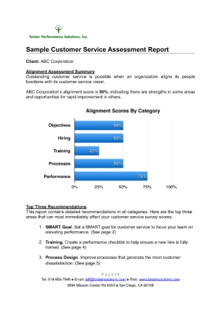 Customer Service Assessment Report