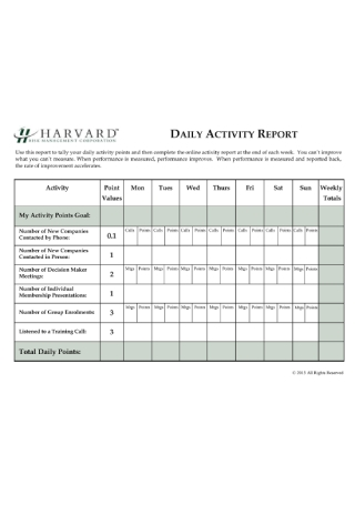 Daily Activity Report