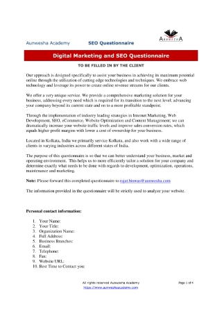 Digital Marketing and SEO Survey Questionnaire