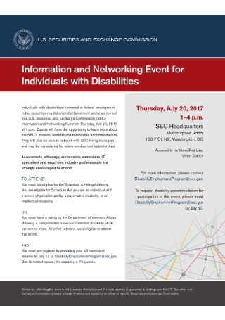 Disability Info and Networking Event Flyer