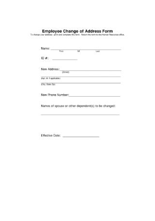 Employee Change of Address Form