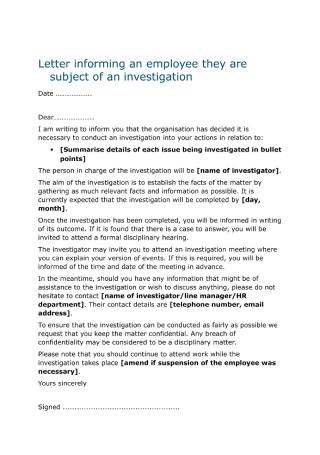 Employee Investigation Letter