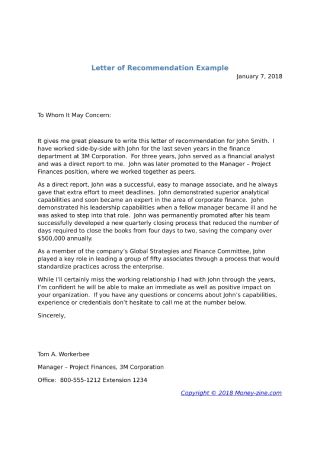 Employee Recommendation Letter