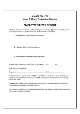 Employee Safety Report
