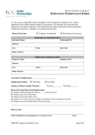 Employee Termination Form