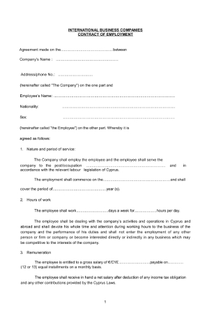 Employment Contract for International Business Companies