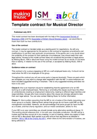 Employment Contract for Musical Director