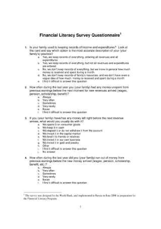 Financial Literacy Survey Questionnaire