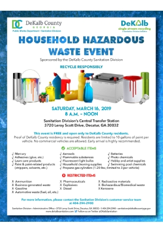 Household Hazardous Waste Event Flyer