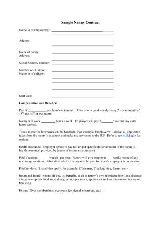 Household Nanny Employment Contract