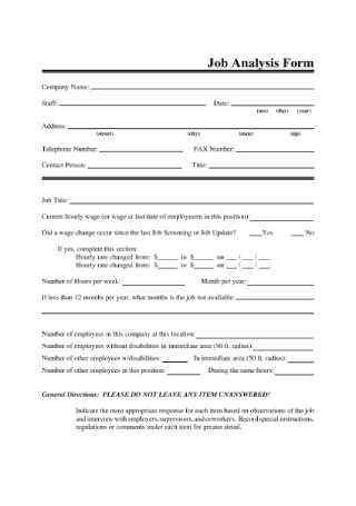 Job Analysis Form
