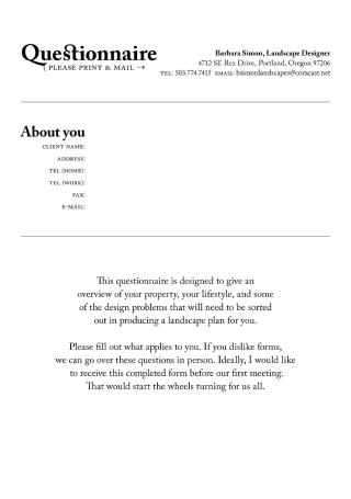 Landscape Design Client Questionnaire
