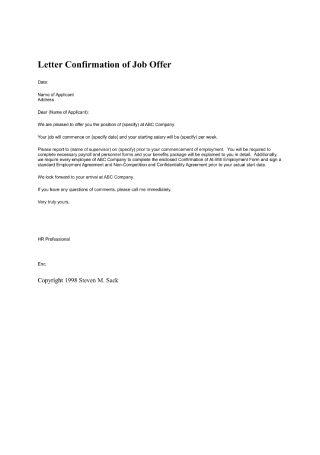 Letter Confirmation of Job Offer