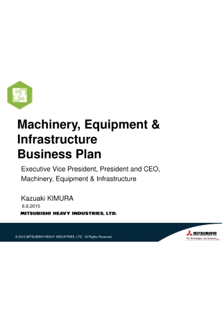 Machinery Equipment and Infrastructure Business Plan