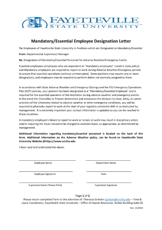 Mandatory Employee Designation Letter
