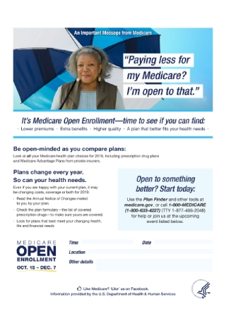 Medicare Open Enrollment Flyer